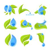 Set of icons for water and nature - stock illustration