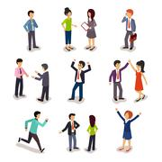 Several People Isometric, Vector - stock illustration