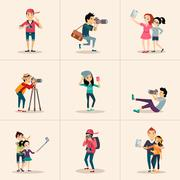 Stock Illustration of Vector creative character design  posing while photographer taking photos