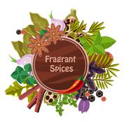 Herbs and Spices Decorative Elements - stock illustration
