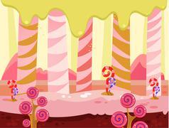 Vector illustration of fantasy sweet food land Stock Illustration