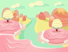 Vector illustration of fantasy sweet food land - stock illustration