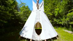 Teepee camping in nature dolly out Stock Footage