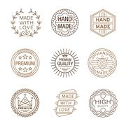Retro Design Insignias Logotypes , Hand Made - stock illustration