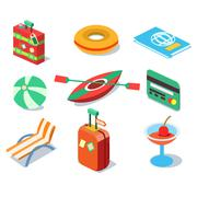 Stock Illustration of Travel Objects Icon Set Flat 3d Isomectric Modern Design Template