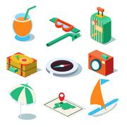 Travel Objects Icon Set Flat 3d Isomectric Modern Design Template - stock illustration