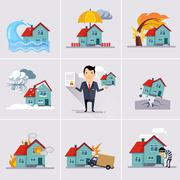 Home and House Insurance Stock Illustration