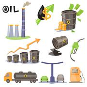 Oil Production Infographic Elements Vector Stock Illustration