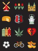 Stock Illustration of Netherlands Travel Symbols