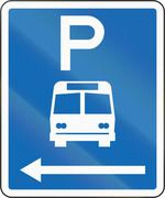 New Zealand road sign - Parking zone for buses with no time limit, on the lef - stock illustration