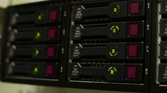 Working data servers with flashing LED lights Stock Footage