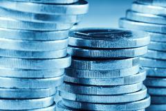 Euro coins, blue toned Kuvituskuvat