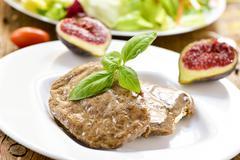 veggie cordon bleu and salad - stock photo