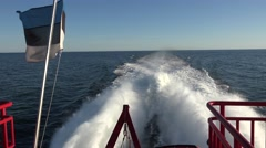View out the back of a hydrofoil in 4k (between Helsinki & Tallinn). Stock Footage
