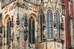 Wall of Prague town hall with astronomical clock, or Prague orlo - stock photo
