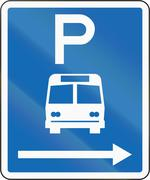 New Zealand road sign - Parking zone for buses with no time limit, on the rig Stock Illustration