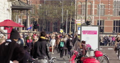 Amsterdam walking people crowd, Netherlands 4K Stock Footage