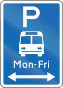 New Zealand road sign - Bus parking with non-standard hours Stock Illustration