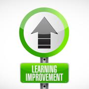 Learning improvement road sign concept - stock illustration
