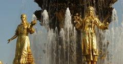Stock Video Footage of sculpture fountain era of the Soviet Union