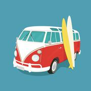 Van surf retro illustration Stock Illustration