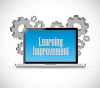 Learning improvement computer sign concept - stock illustration