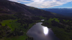 4k Aerial of Colorado mountains and lake Stock Footage