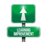 Stock Illustration of Learning improvement road sign concept
