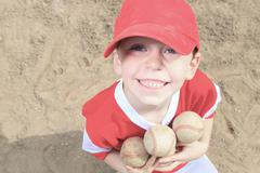 Nice child happy to play baseball Stock Photos