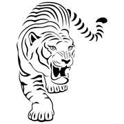 Aggressive tiger on hunting - stock illustration