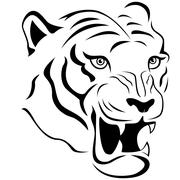 Aggressive tiger head close-up Stock Illustration