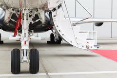 front landing gear light aircraft - stock photo