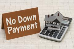 Stock Photo of Home Mortgage No Down Payment, A gray house, brown card and calculator on sto