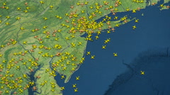Many crowd airplanes flight above New York 4K Stock Footage