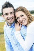 Young happy couple on summer season Stock Photos
