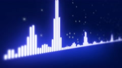Audio equalizer bars moving. Music control levels. Blue. Stock Footage