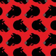 Angry dog seamless pattern. Background of aggressive animal with red eyes. Te - stock illustration