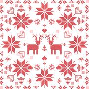 Stock Illustration of Xmas pattern in square shape with reindeers in red