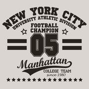 New York City Typography football t-shirt - stock illustration
