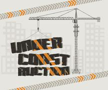 Under construction, crane and building Stock Illustration