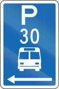 New Zealand road sign - Parking zone for buses with time limit, on the left o Stock Illustration
