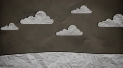 Stop Motion Paper Clouds Moving Slow - stock footage