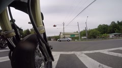 Motorcycle pov low angle driving Stock Footage