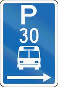 New Zealand road sign - Parking zone for buses with time limit, on the right  Stock Illustration