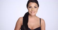 Cute Brunette in Black Bra Making Faces Stock Footage