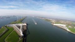 Aerial bird view of Maeslantkering a storm surge barrier near Rotterdam 4k Stock Footage