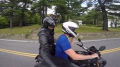 Motorcycle friends having fun Stock Footage