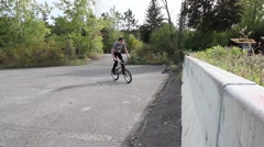 extreme bmx rider icepick grind barrier - stock footage