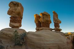 Hoodoos Devils Garden Escalante at Sunrise - stock photo