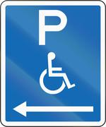 New Zealand road sign - Parking zone reserved for disabled persons with no ti Stock Illustration